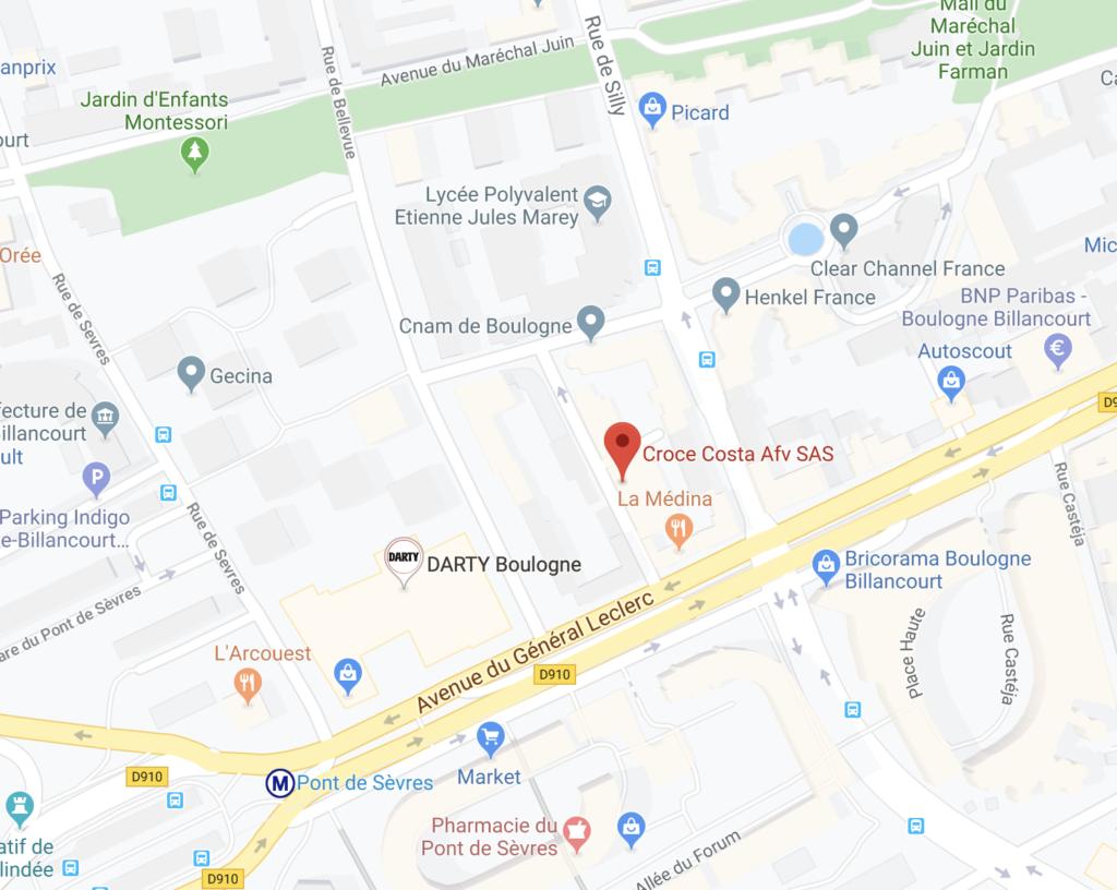 l'adresse de notre atelier de Boulogne-Billancourt